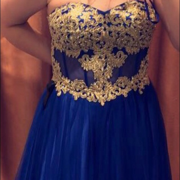 Camille La Vie Dresses | Blue And Gold Corset Ball Gown Prom Dress ...